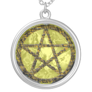 Pentacles: Gold Round Pendant Necklace