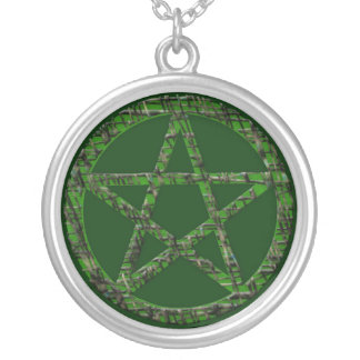 Pentacles: Green Round Pendant Necklace