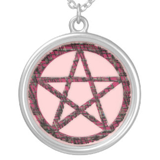 Pentacles: Pink Round Pendant Necklace