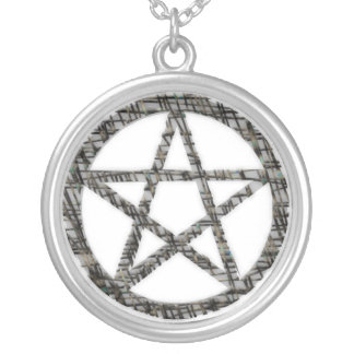 Pentacles: Silver Round Pendant Necklace