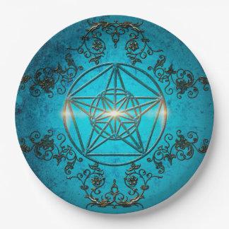 Pentagram, a  magical symbol. paper plate