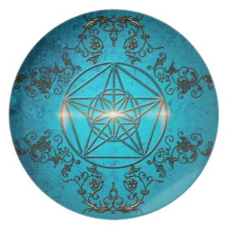 Pentagram, a  magical symbol. party plate