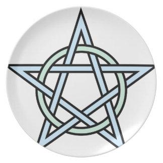 Pentagram-circle-interlaced Dinner Plates