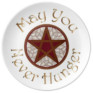 "Pentagram & Copper ""May You Never Hunger"" 3 Porcelain Plate"