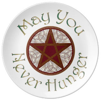 "Pentagram & Copper ""May You Never Hunger"" 4 Porcelain Plate"