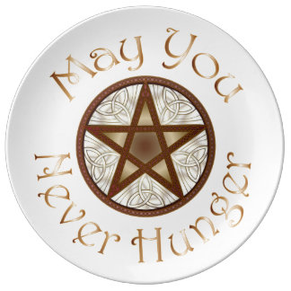 "Pentagram & Copper ""May You Never Hunger"" Plate 2 Porcelain Plates"