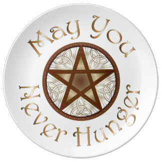 "Pentagram & Copper ""May You Never Hunger"" Plate Porcelain Plates"