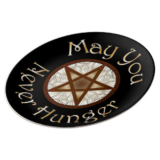 """Pentagram & Gold """"May You Never Hunger"""" Plate"""