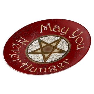 "Pentagram & Gold ""May You Never Hunger"" Red Plate Porcelain Plates"