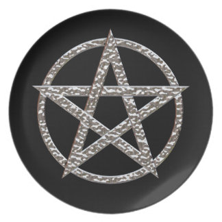 Pentagram Hammered Chrome Melamine Plate
