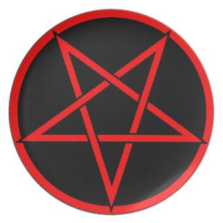 Pentagram Satanic Dinner Plate