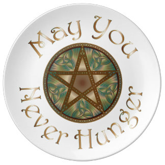 "Pentagram & Verdigris ""May You Never Hunger"" 2 Porcelain Plates"