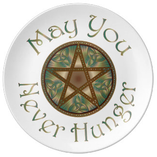 "Pentagram & Verdigris ""May You Never Hunger"" Plate Porcelain Plates"