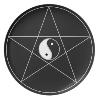 Pentagram Yin Yang white Party Plate