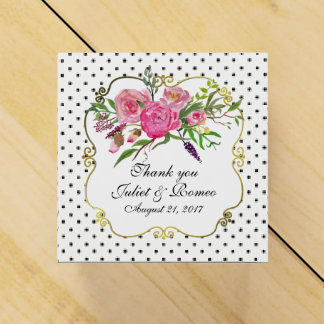 Peonies and Dots Wedding Favor Gift Box Party Favour Box