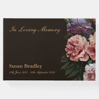 Peonies Painting Memorial Funeral Guest Book