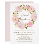 Peonies Wreath Bridal Luncheon Invitation