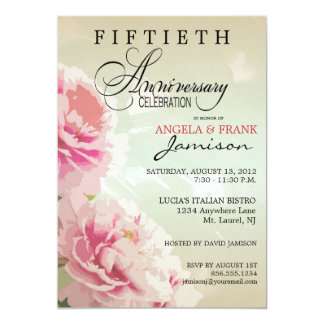 Peony Floral 50th Anniversary Party Invitation
