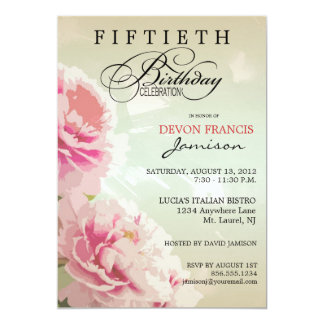 Peony Floral 50th Birthday Party Invitation in Pin