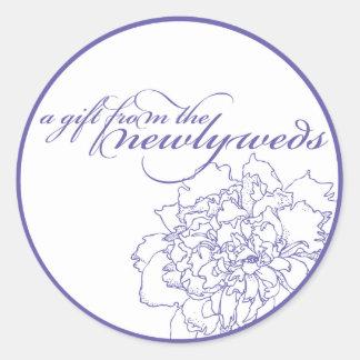 Peony Wedding Monogram Sticker