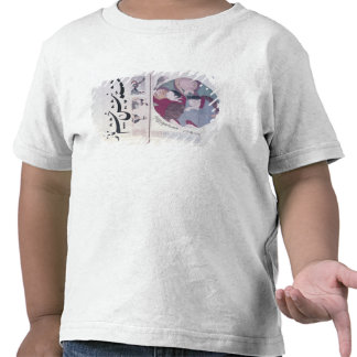 People sleeping and calligraphy tee shirt