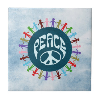 People united around the world in a peace symbol tile