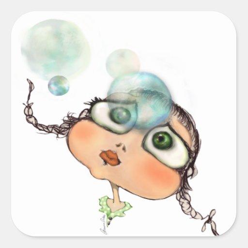 Pepe dagli occhi grandi square stickers