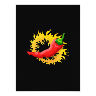 Pepper with flame 17 cm x 22 cm invitation card