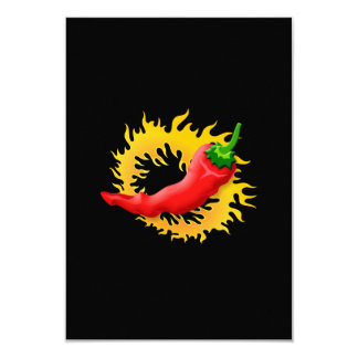 Pepper with flame 9 cm x 13 cm invitation card