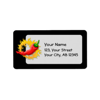 Pepper with flame address label