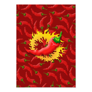 Pepper with flame 5x7 paper invitation card