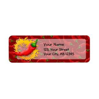 Pepper with flame return address label