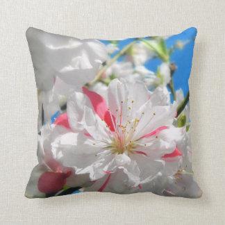 Peppermint Peach Flower Throw Pillow