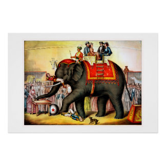Performing Elephant in Circus 1874 Vintage Poster