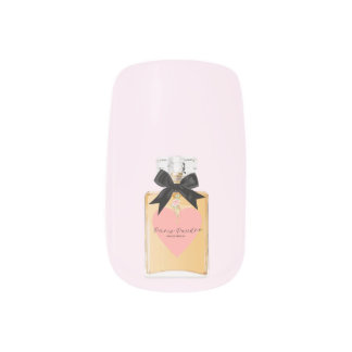 Perfume Art Cream and Pink Nail Art