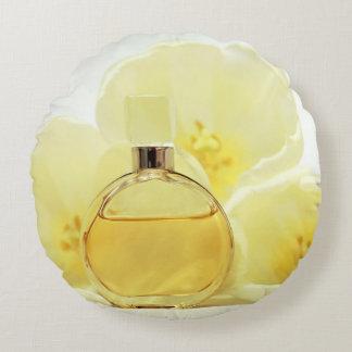 Perfume & Soft Yellow Flowers Round Cushion