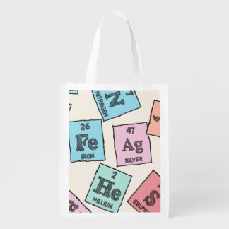 Periodic Elements Pattern Reusable Grocery Bag