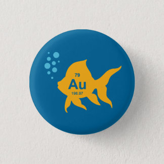 Periodic Table Elemental Gold Fish 3 Cm Round Badge