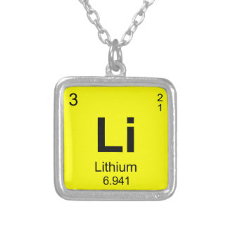 Periodic Table of Elements (Lithium) Silver Plated Necklace