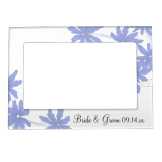 Periwinkle Blue Daisies on White Wedding Magnetic Photo Frame