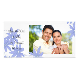 Periwinkle Blue Daisies Wedding Save the Date Custom Photo Card