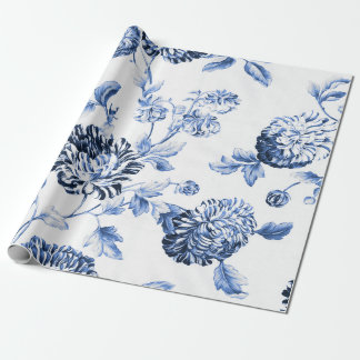 Periwinkle Blue Vintage Botanical Floral Toile Wrapping Paper