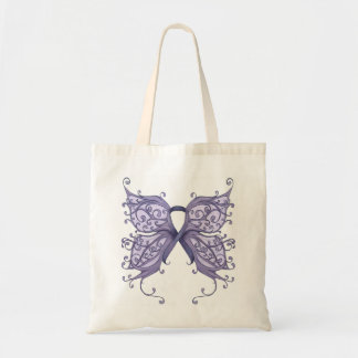 Periwinkle Cancer Ribbon with Butterfly Wings Budget Tote Bag