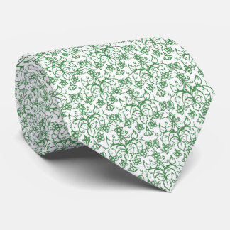 Periwinkle Green White Decorative Chic Floral Tie