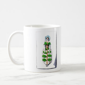 Periwinkle Lady Flower Painting Classic White Coffee Mug