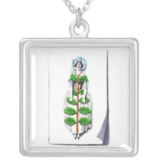Periwinkle Lady Flower Painting Square Pendant Necklace