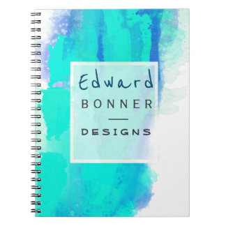 Permanent Green Watercolor Professional Business Spiral Notebooks