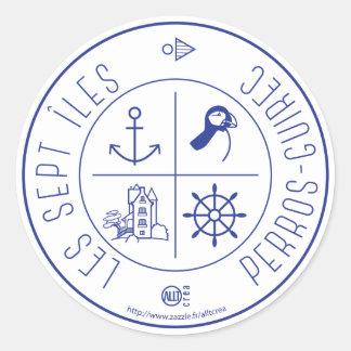 Perros-Guirec Seven Islands Classic Round Sticker