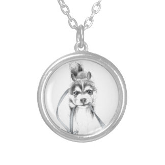 Perseverance, A Siberian Husky Silver Plated Necklace