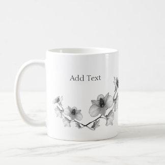 Personalise Black and White Orchid Basic White Mug